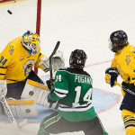North Dakota sophomore forward Austin Poganski, of St. Cloud, MN., scored this  fifth goal for North Dakota last night, pretty much putting the final nail in the coffin for Quinnipiac, en route to North Dakota's 5-1 NCAA Championship Game win.  Poganski finished the season seventh on his team in goals scored, with ten, and tied for sixth in assists, with fifteen.