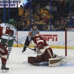 North Dakota sophomore forward Nick Schmaltz, of Verona, WI., scored this last minute backhander, giving his team the win over Denver in the second Frozen Four semi-final game last night in Tampa, Florida.  Schmaltz is tied for fourth on his team in goals scored with 11, and is first in assists with 34.  North Dakota advanced to play Quinnipiac on Saturday, April 9th, at 5:00pm Pacific Time on ESPN2.