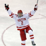 Boston University sophomore defenseman Shane Switzer, of Bloomfield HIlls, MI, exults after scoring his first college goal; Switzer scored two goals in his team's 5-2 win over Yale last Tuesday night, December 13th, in Boston.  Switzer is tied for tenth on his team in goals scored with his two goals, and is tied for 21st on the team with no assists.  Boston University is 10-5-2, ranked #4, and will have three weeks off until Thursday, January 5th, when they host #!0 Union College, and then play UMass-Amherst on Saturday afternoon, January 7th, outdoors at Fenway Park.  Read all about Shane Switzer and the BU/Yale game in today's post.