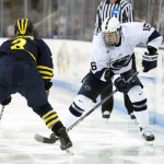 Penn State sophomore forward Andrew Sturtz, of Buffalo, NY (at right, #16 in white), scored two goals Thursday night in his team's 6-1 win, and scored a goal Friday night in his team's 5-1 win, both over Michigan.  Sturtz is first on his team in goals scored, with thirteen, and is tied for fifteenth on his team in assists, with two.  Penn State is now 13-1-1, and is ranked #3.  They will take off the rest of December, and resume play on January 6 and 7, when they travel to play Ohio State, currently ranked #10.  Read all about Sturtz and his team's wins last weekend in today's post.
