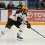 "Minnesota sophomore forward Brent Gates, Jr., of Grand Rapids, MI, notched a hat trick in his team's 5-1 win Friday night over Merchyhurst, en route to winning the Mariucci Classic -- the ""Moochi.""  The 6'2"" 198lb forward is tied for second n the team in goals scored, with nine,, and is tied for sixteenth in assists,, with one.  Minnesota is 11-5-2, ranked #9, and has two weeks off until Friday and Saturday, January 13th and 14th, when they host Michigan for two games."