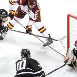 Minnesota-Duluth senior forward Dominic Toninato, of Duluth, MN, scored two goals Friday night, including this one,, in his team's 2-2 tie with Nebraska-Omaha.  He also tallied two assists Saturday night as his team went on to beat Omaha.  Toninato is fourth on the team on goals scored, with eight, and is ninth on his team in assists, with seven.  Minnesota-Duluth is 18-5-5, and is ranked #1 in the poll.  Duluth has this weekend off, and plays next when they travel to play Colorado College on Friday and Saturday, February 17 and 18.  Read all about Dominic Toninato and Minnesota-Duluth in today's post.