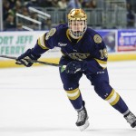 Notre Dame junior forward Jake Evans, of Toronto, ONT., scored two goals Friday night in his team's 3-1 win over Boston University, en route to splitting the weekend with B.U.  Evans is third on his team in goals scored, with twelve, and is second on the team in assists, with 23.  Notre Dame is 19-01-5, ranked #12, and is off this weekend after earning a first-round bye in the Hockey East Tournament; they will play next at home the weekend of March 9th.