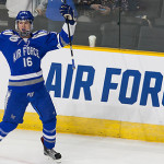 Air Force sophomore forward Kyle Haak, of Okernos, MI,exults after scoring his first period short-handed goal to give Air Force a 2-0 lead over Western Michigan last night in Providence, RI.  Haak went on to score another goal in the second period, helping Air Force to beat Western Michigan 5-4, and to advance to play #2 Harvard today at 5:30PM Pacific Time on ESPNU.
