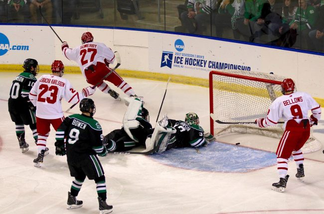 Boston University senior defenseman Doyle Somerby, of Marblehead, MA, scored this early second period goal (his first of the season) to tie the game at 1-1, helping BU to squeak out a 2 OT win over North Dakota.
