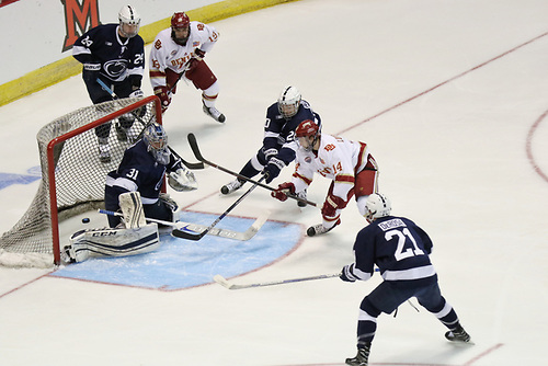 Denver sophomore forward Jarid Lukosevicius, of Squamish, B.C., scored this second period goal to put Denver up 4-2 over Penn State in last night's game, helping his team to their 6-3 win.  Denver advanced to the Frozen Four in Chicago, where they will face Notre Dame on Thursday, April 6th, at 6:30PM Pacific Time on ESPN2.