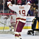 Denver sophomore forward Troy Terry, of HIghland Ranch, CO, scored this goal and added two assists in his team's 4-1 win Friday night, and then scored two goals in his team's 4-0 win Saturday night, as Denver swept Colorado College in first round action of the NCHC Tournament.  Terry is second on his team in goals scored, with nineteen, and is tied for third in assists, with seventeen.  Denver is 28-6-4, ranked #1, and plays next against #11 North Dakota in the NCHC semifinals on Friday night in St. Paul, MN.  Read all about Terry and Denver in today's post.