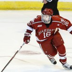 """Harvard sophomore forward Ryan Donato, of Scituate, MA, leads his team in goals scored, with twenty, and is sixth on the team in assists, with eighteen.  As a freshman,the 6'1"""" 181lb forward scored thirteen goals and tallied eight assists.  He was picked in the second round with the 56th pick overall by the Boston Bruins in the 2014 NHL Entry Draft.  His dad, Ted Donato, is the coach, and he also played at Harvard, amassing 50 goals and 94 assists in his four year career there.  His dad was also picked by the Boston Bruins, where he played several seasons of his thirteen year NHL career; he scored 150 goals and added 197 assists in the NHL.  Harvard is 26-5-2, ranked #2 in the poll, and plays tomorrow in the opening round of the NCAA Tournament in Providence, RI, against #13 ranked Providence College, at 1:00pm Pacific Time on ESPNU."""