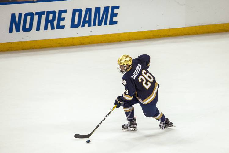 Notre Dame freshman forward Cam Morrison, of Aurora, ONT, scored two goals yesterday to help his team beat UMass-Lowell 3-2 in OT and advance to the Frozen Four in Chicago on April 6, to face the winner of the game between Denver and Penn State.