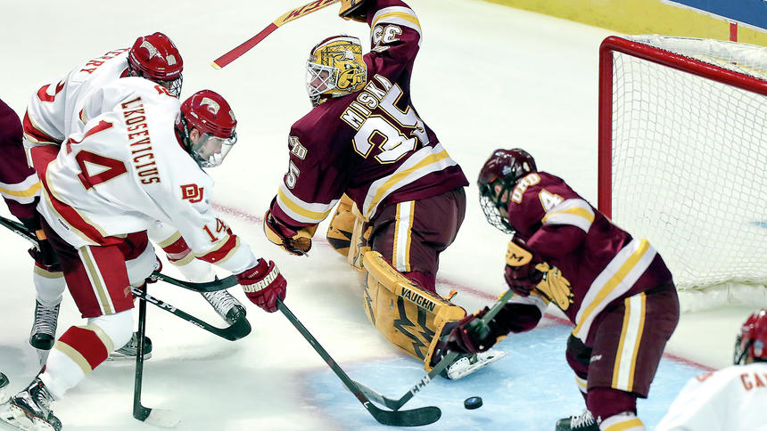 Denver sophomore forward Jarid Lukosevicius, of Squamish, BC, took this point-blank pass from teammate Troy Terry, and scored his second goal in sixteen seconds, to put Denver up 2-0 over Minnesota-Duluth, en route to a 3-2 victory and winning the NCAA Championship Saturday night in Chicago.