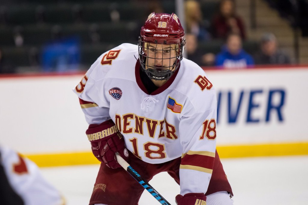 Denver senior forward Emil Romig, of Vienna, Austria, scored the first goal of the game yesterday in his team's 6-1 win over Notre Dame, helping to send them to the final championship game tomorrow in Chicago against Minnesota-Duluth at 5:00pm Pacific Time on ESPN.