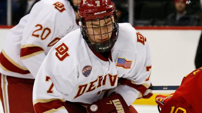 Denver sophomore forward Dylan Gambrell, of Burney Lake, WA, is fourth on his team in goals scored, with 11, and is second in assists, with 28.