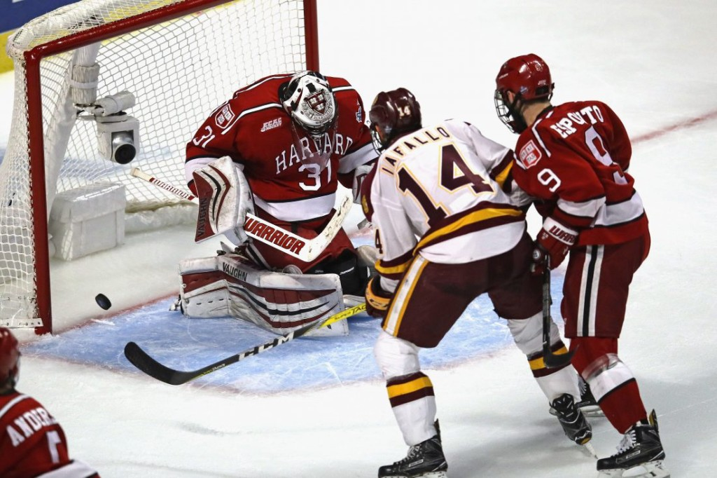 Minnesota Duluth senior forward Alex Iafallo, of Eden, NY, the leader and star of the Minnesota Duluth team, tipped in this game-winning goal with only 27 seconds left in the game, to make it 2-1 and to advance his team to the final championship game in Chicago tomorrow against Denver at 5:00pm Pacific Time on ESPN.