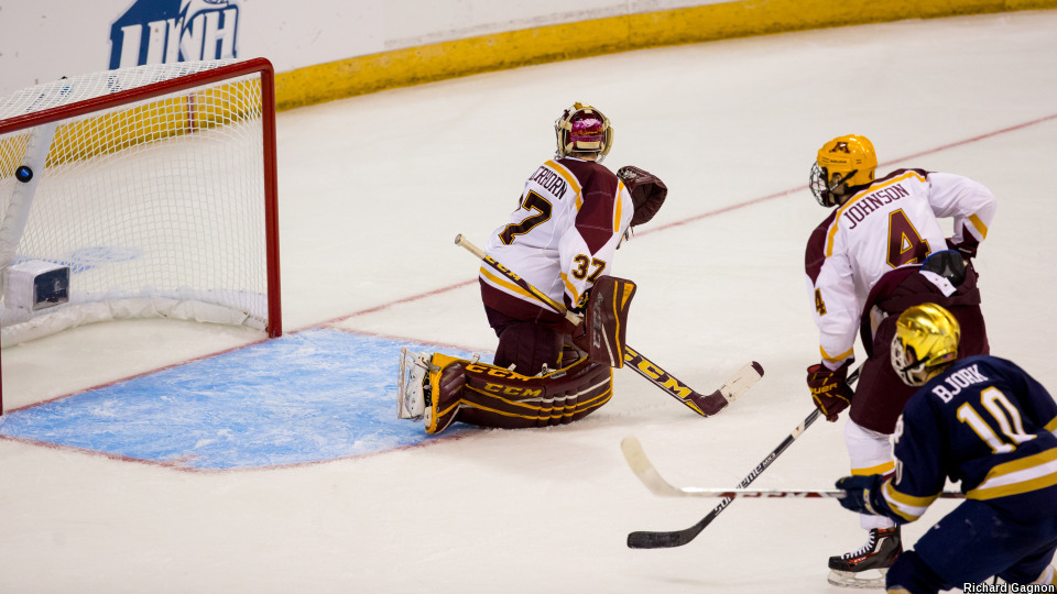 Notre Dame junior forward Anders Bjork, of Mequon, WI, (shown here scoring a goal against Minnesota in the first round of this year's NCAA Tournament) is tied for first on his team in goals scored, with 21, and is first in assists, with 31.