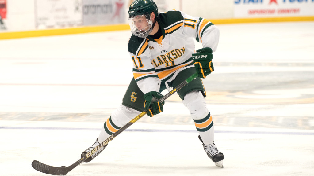 Clarkson sophomore forward Sheldon Rempal, of Calgary, ALB. (shown here in the October 28 game against Minnesota), scored two goals in his team's 5-2 win at Colgate, and scored a goal and added an assist in his team's 4-0 win at Cornell Saturday night.