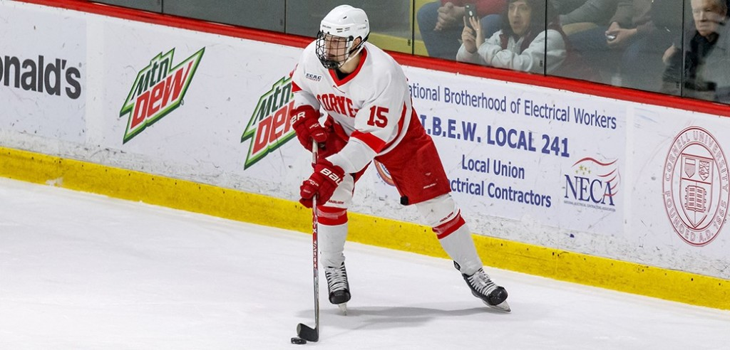Cornell senior forward Trevor Yates, of Beaconsfield, QUE., scored a goal and added an assist in his team's 5-4 home win over Niagara last Tuesday night, and scored a goal in his team's 4-3 win over Boston University Saturday night at Madison Square Garden.  Yates is first on his team in goals scored, with seven, and is tied for sixth in assists, with four.  Cornell is