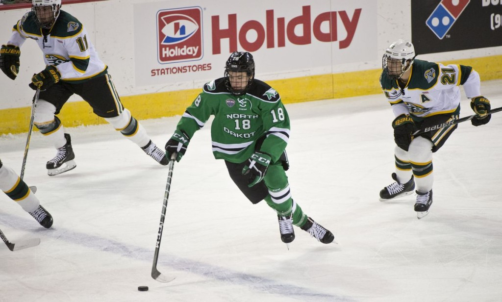 North Dakota freshman froward Collin Adams, of Brighton, MI., scored a goal in his team's 3-2 win Friday night, and a goal in his team's 2-2 tie Saturday night, both at Wisconsin.  Adams is first on his team in goals scored, with four, and is tied for fourteenth in assists, with one.  North Dakota is 6-2-2, ranked #2, and travels to play two games at Miami of Ohio this weekend.  Read about Adams and North Dakota in today's post.