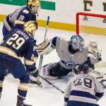 Notre Dame senior forward Bo Brauer, of Edina, MN., scored this game winning goal Saturday night, and scored a goal Friday night, in his team's sweep of Penn State last weekend.  Notre Dame is 8-3-1, ranked #4, and travels to play two games at Rensselaer this weekend.  Read all about Bo Brauer and Notre Dame in today's post.