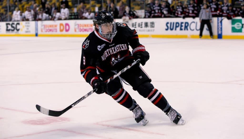 Northeastern junior forward Adam Gaudette, of Braintree, MA.,