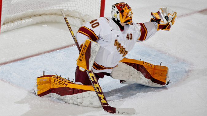 Minnesota sophomore goalie Mat Robson, of Missisagua, ONT., made this great glove save Sunday at Minnesota in his team's 2-0 shutout win over St. Cloud State.  You should treat yourself and read John Kriesel's game
