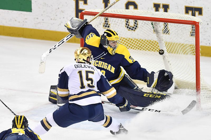 Notre Dame junior forward Andrew Oglevie, of Fullerton, CA., scored a goal in his team's 2-1 win Frday night, and scored this goal in his team's 2-1 win Sunday night, both over Michigan.