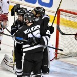 "Providence sophomore Josh Wilkins, of Raleigh, NC. (pictured here celebrating a goal against Boston College in a game last year), scored a goal in his team's 4-1 win at Boston College Friday night, and he scored the first goal of the game in his team's home ice 2-2 tie with Boston University Saturday night.  The 5'11"" 180lb forward is fourth on his team in goals scored, with nine, and is fifth in assists, with ten.  Providence is 15-7-2, is ranked #10, and plays next in a two game home-and-home series against the University of Connecticut, starting Thursday, January 18th in Hartford, and concluding on Saturday the 20th at Providence.  Read all about Wilkins and his Providence team in today's post."