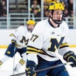 "Michigan senior forward, and captain, Tony Calderone, of Trenton, MI., scored the game-winning goal in his team's 4-2 win Friday night at Notre Dame, and the game winning goal in his team's 1-0 win Saturday night at home, as his team swept Notre Dame on the weekend.  The 6""0"" 200lb senior is first on his team in goals scored, with seventeen, and is third in assists, with thirteen.  Michigan is 16-13-3, is ranked #13, and will close out regular season play this weekend when they host Arizona State for two games.   You can read all about Calderone and the Michigan team in today's post."