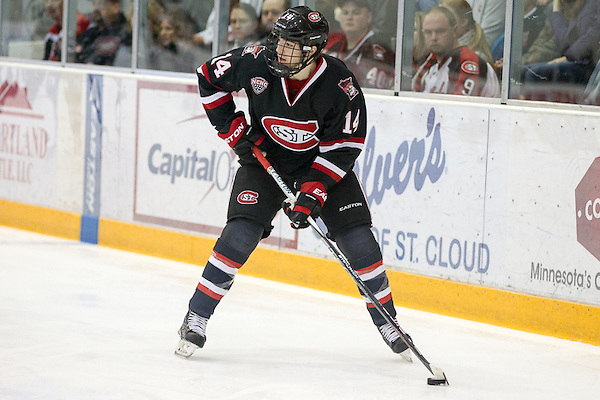 """St. Cloud State junior forward Patrick Newell, of Thousand Oaks, CA., scored two goals and added an assist in his team's 4-0 win Saturday night, and tallied an assist in his team's 5-2 win Friday night, as they swept MIami of Ohio.  The 5'9"""" 155lb lefty is tied for tenth on his team in goals scored, with five, and is fifth in assists, with fourteen.  St. Cloud State is 19-6-3, is ranked #3, and plays two games at #15 Western Michigan this weekend."""